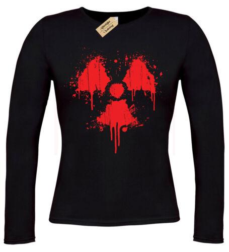 Radioaktive Blut Spritzer Damen T-Shirt Fall Grunge Langärmlig Post Radiation