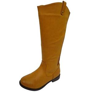 LADIES-TAN-EXTRA-WIDE-CALF-WIDE-FIT-BIKER-KNEE-HIGH-RIDING-COWBOY-BOOTS-UK-4-9
