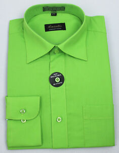 Mens dress shirt neon green modern fit wrinkle free cotton for Neon green shirts for men