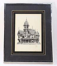"""Carson Mansion"" Pen and Ink J.E. Coyle Print Hand Signed Framed"