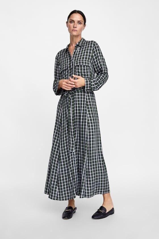 Zara AW18 Plaid Shirt Dress Grün 4437 279 Größe S NWT
