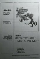 Sears 30 Tiller 8 Hp Sleeve Hitch Garden Tractor Owner & Parts Manual 917.252492