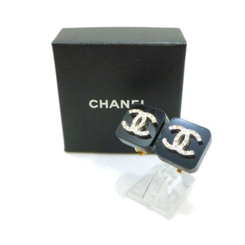 Authentic CHANEL CC Logo Earrings Crip-On Black 96