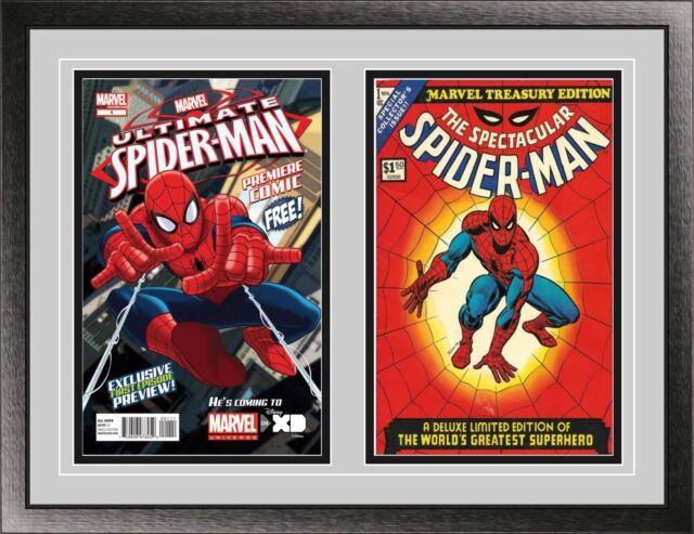 Current Double Comic Book Black Wood Glass Wall Showcase Frame Holder Display UV
