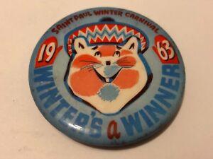 Vintage-1963-St-Paul-Winter-Carnival-Pinback-Button-Winter-039-s-A-Winner