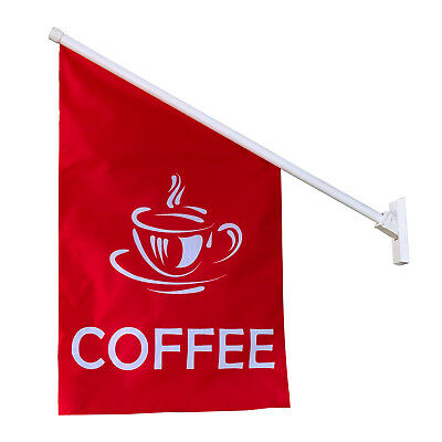 wall flag coffee advertising display flag banner full kit pole bracket