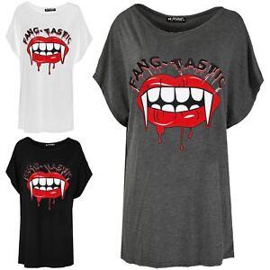 Ladies Fang Tastic Bleeding Lip Halloween Batwing Baggy T Shirt Tops