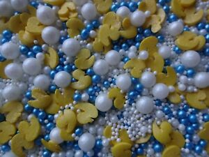 Yellow White Blue Ducks Baby Shower Cupcake Cake Sprinkles Toppers