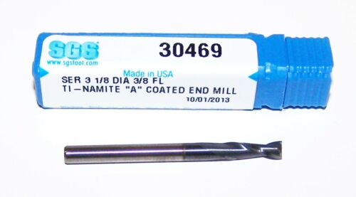 """.1250/"""" 1//8/"""" 2 FLUTE CARBIDE ENDMILLS FROM SGS ALTIN COATED 30469"""
