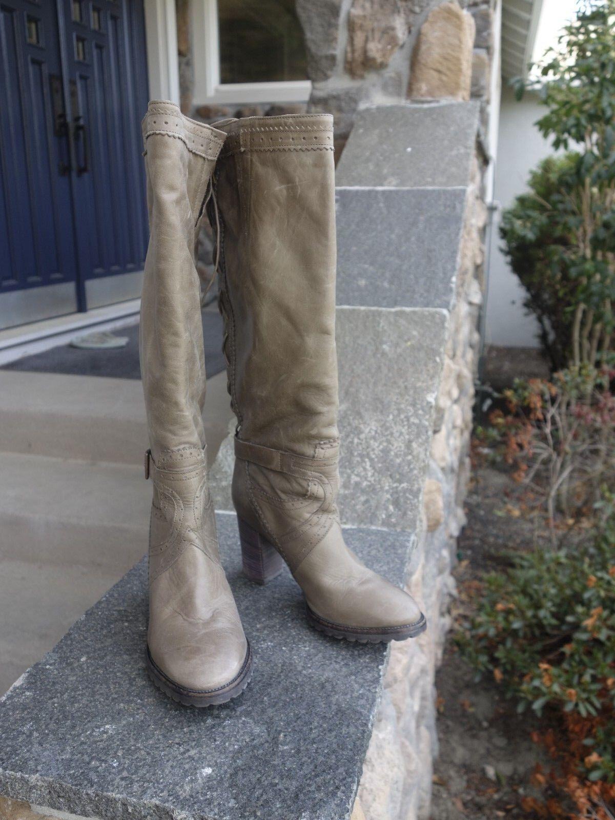 Fabianelli  Dark Tan Leather Knee High Heel stivali donna Dimensione 38 EUR Style A54