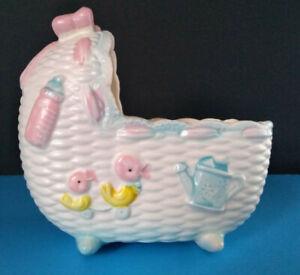 Napco Japan Baby Bed Bassinet Ceramic Planter Pink Blue Rattle Bottle