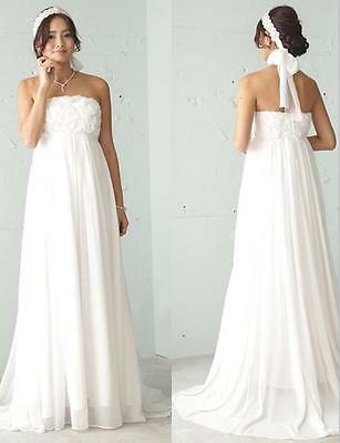 Strapless Chiffon Elegant Pregnant Bridal Gowns Maternity Beach Wedding Dresses Ebay