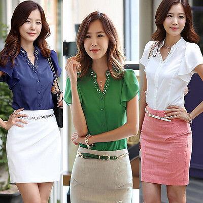Hot Fashion Career Women's Chiffon Tops Fitted Puff Sleeve Shirt Clubwear Blouse