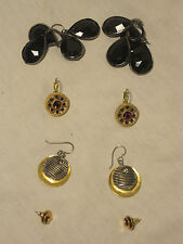 4 X earrings earring Vintage costume jewelery lot dangle dangling gold-tone red