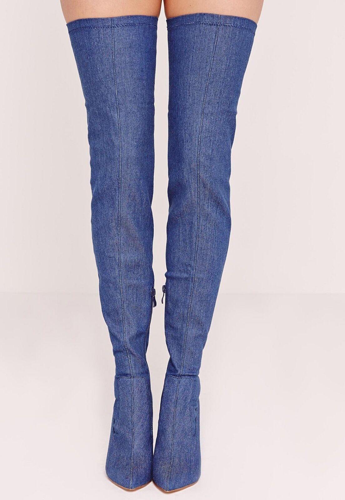 Missguided Over the Knee Denim  Stiefel Größe 6/39 BNWT  Denim  Blau Uk Freepost 670e94