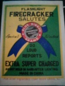 old Firecracker Label BLUE RIBBON BRAND 20' size label RARE ITEM GREAT CONDITION