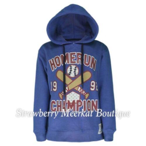 NEW Boys ex Old Navy Blue Homerun Hoodie Sweatshirt Jumper Age 2 4 6 8 RRP £20