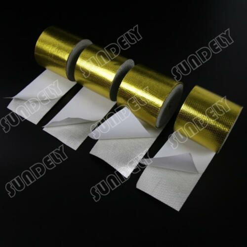 "2/"" 12/"" 20/"" 24/"" SELF ADHESIVE REFLECTIVE GOLD HIGH TEMPERATURE HEAT WRAP TAPE UK"