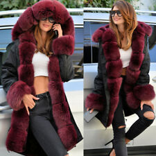 New Fashion Winter Women Jacket Thick Faux Fur Collar Hooded Coat Long Parka