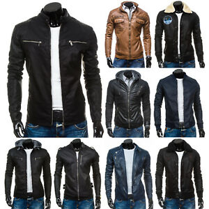 BOLF-homme-Veste-en-simili-cuir-de-transition-Blouson-motard-survetement-melange