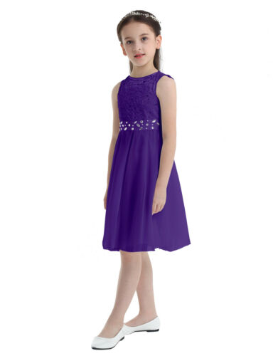 UK Flower Girl Dress Chiffon Halter Princess Pageant Wedding Bridesmaid Gown