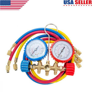 R12-R22-R502-Manifold-Gauge-Set-AC-A-C-3FT-Hose-Air-Conditioner-HVAC-36-034