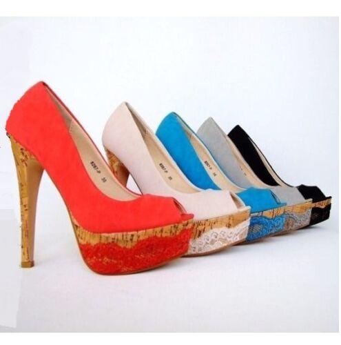 Plateau High Heels Pumps Peeptoes Party Damenschuhe Stilettos Shoes Neu 8267-P