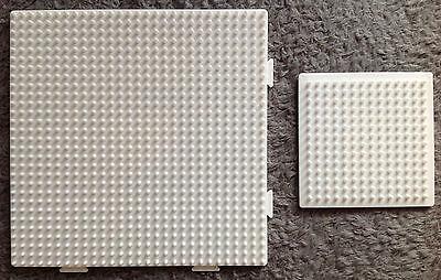 2 Stiftplatten - Viereck groß u. klein - für Hama Midi Bügelperlen weiß