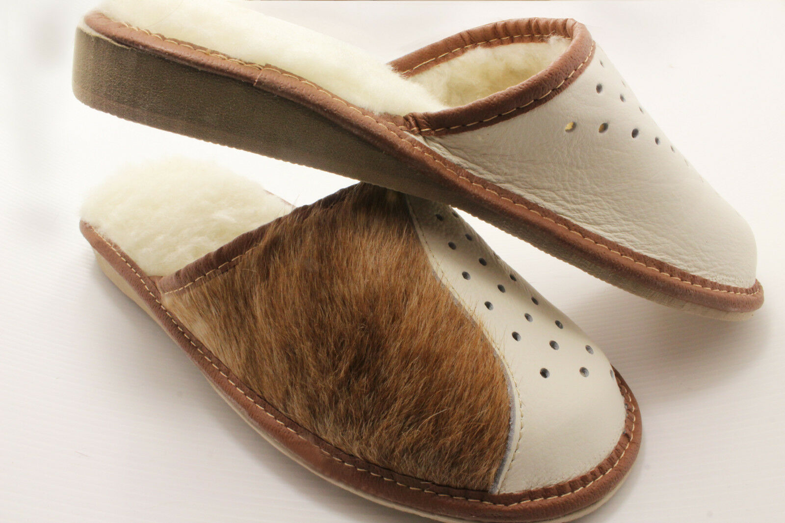 SLIPPERS Scuffs Size Genuine Leather Warm WOOL Size Scuffs (women's ):5,6, 7,8,8.5,9.5, e703d7