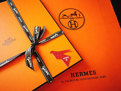 Franco Hermès Petit H Mini Charm, Leather Piece -colombe Origami-