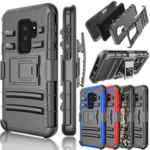 For-Samsung-Galaxy-S9-Plus-Holster-Heavy-Duty-W-Kickstand-Belt-Clip-Case-Cover