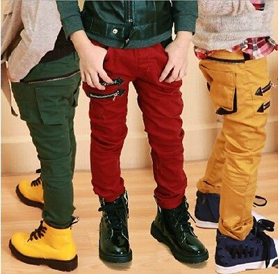 New Toddlers Boys Dual Zipper Casual Slender Pants Trousers 3-8 Y V052