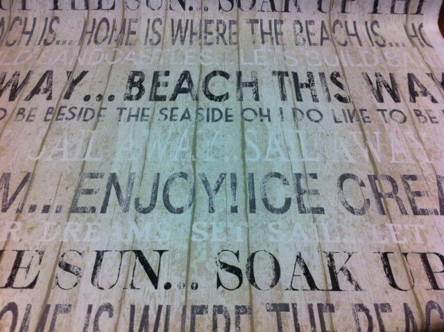 "FRYETT`S Boardwalk ""Linen"",Seaside Word Theme Cotton Fabric Curtain/Upholstery."