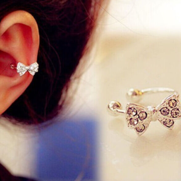 hot Korea Vogue ue 1pc Bowknot Bow Rhinestone Crystal Lady Ear Bone Clip Earring