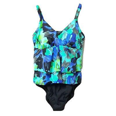 Modcloth BLACK FLORAL Kelsie One-Piece Swimsuit US Medium