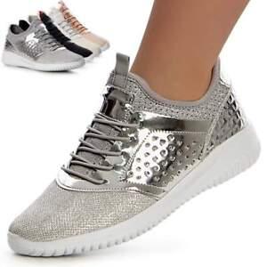 more photos f6236 73325 Details zu Damenschuhe Plateau Sneaker Turnschuhe Glitzer Sportschuhe  Keilabsatz