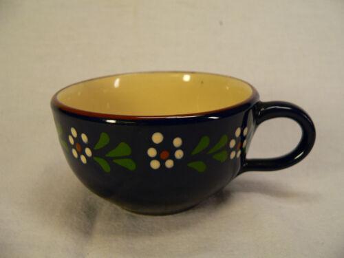 Teetasse dunkelblau m kleinen weißen Punkten Blumen aus Keramik