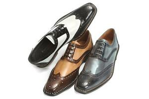New Men's Liberty Leather Two Tone Wing Tip Oxford Dress ...