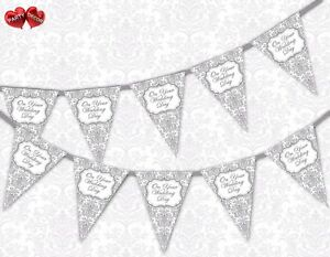Classic-Silver-Damask-On-Your-Wedding-Day-Bunting-Banner-15-flags-by-PARTY-DECOR