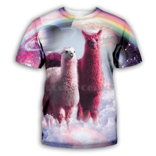 Starry sky rainbow Alpaca 3D print Casual T-Shirt Womens Mens Short Sleeve Tops