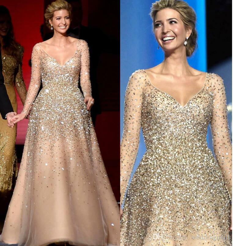 Long Crystal Evening Dresses Champagne Prom Party Ball Bown Celebration Celebration Celebration Dress 040bec