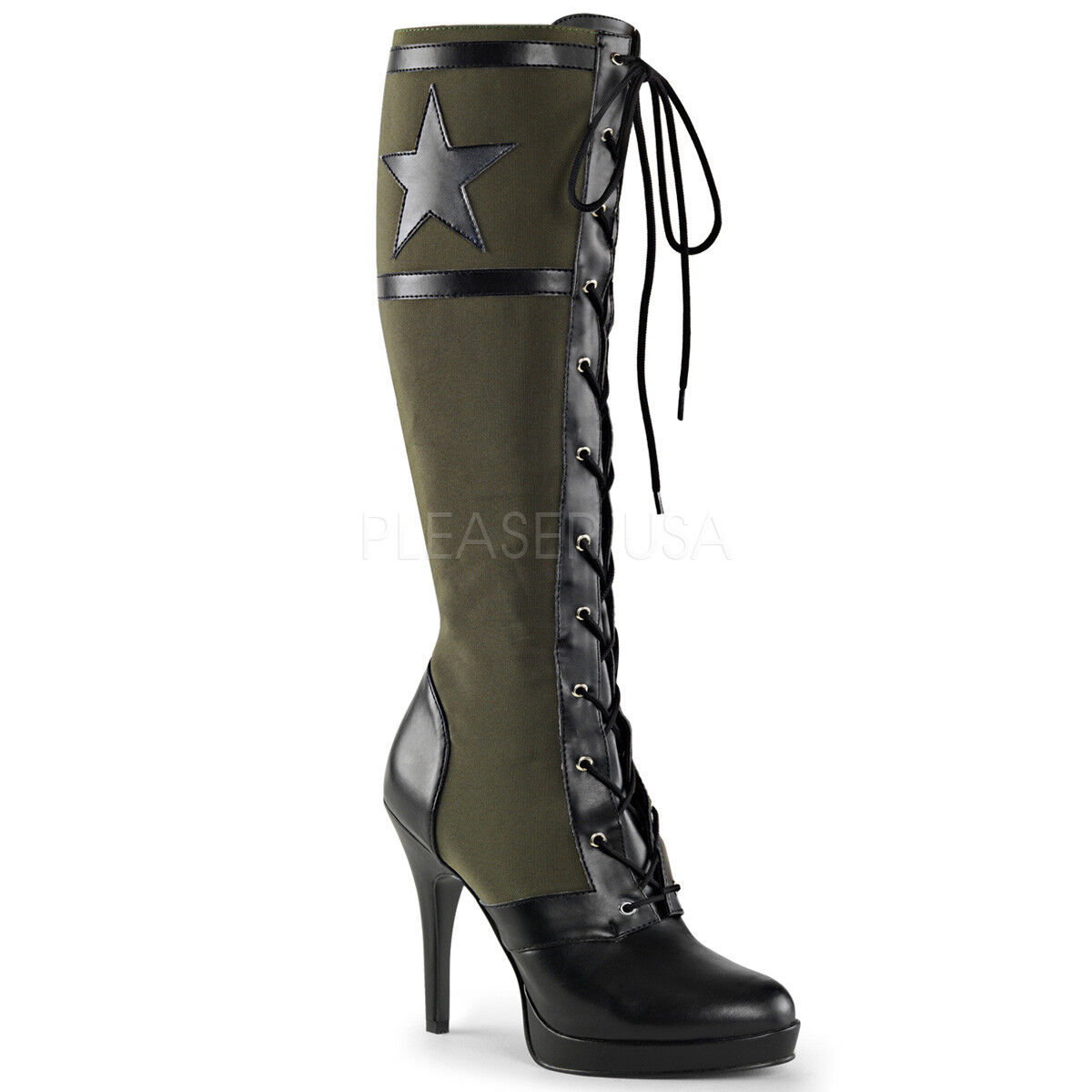 risparmia fino al 50% 4.5  Army verde verde verde Knee High Military Stars Stripes Mini Platform Knee stivali 6-12  negozio d'offerta