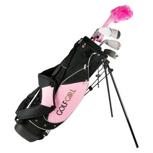 Golf Girl Junior Club Youth Right Hand Set for Kids w/Pink Stand...