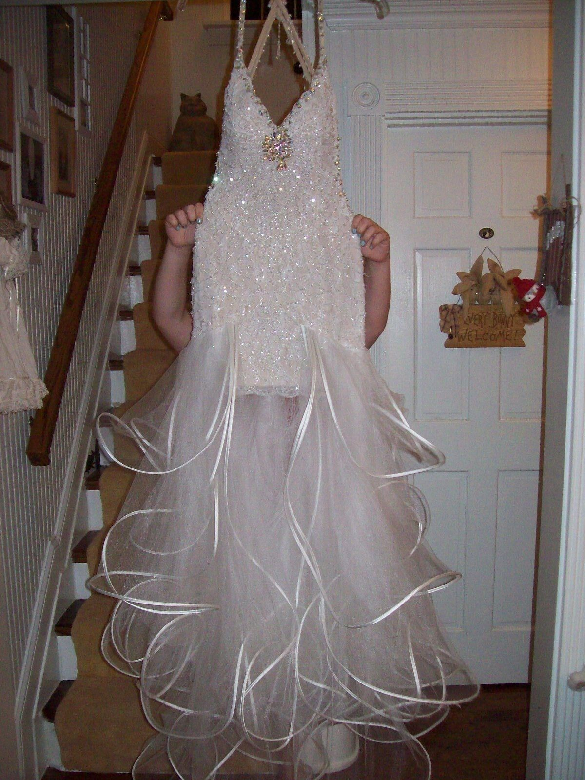 Cassandra Stone by Mac Doogal white heavily beaded gown Size 8