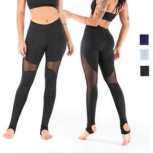ccacb718922e47 Women's Sports Legging Mesh Tummy Control Yoga High Waist Skinny ...