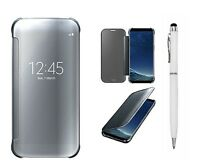 Samsung S8 Luxury Mirror Smart Cover. Clear View Flip Hard Back Case Bundle