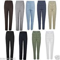 New Womens Ladies Half Elasticated Stretch Waist Work Trousers Pockets Pants