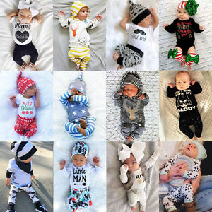 Au Newborn Kids Baby Boys Girls Tops Romper Long Pants Outfits