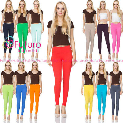Women's Full Length Hight Waist Cotton Leggings Plain Pants 8-20 Uk Size Lwp Auf Dem Internationalen Markt Hohes Ansehen GenießEn