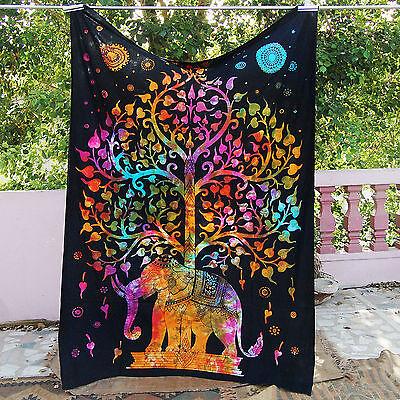 Ceiling Room Dorm Multi-color elephant Wall Tree Of Life Gypsy hippie Throw